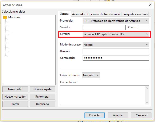 Gestor sitios FileZilla