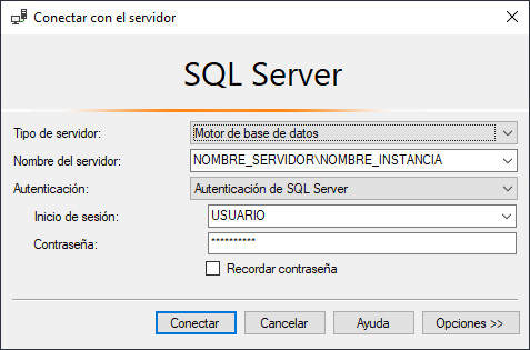 Conexión a Microsoft SQL Server Management Studio