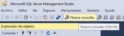 Nueva consulta en Microsoft SQL Server Management Studio