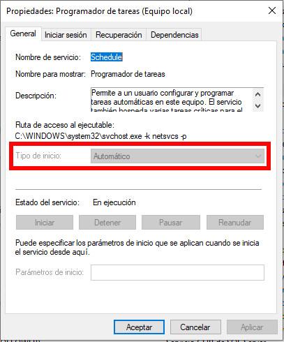 Servicio del Programador de tareas de Windows