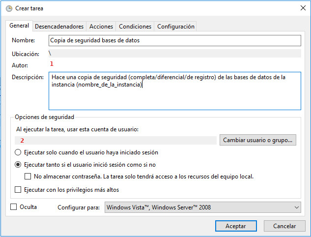 Pestaña general de la tarea programada de Windows para las copias de seguridad automáticas en sql server express
